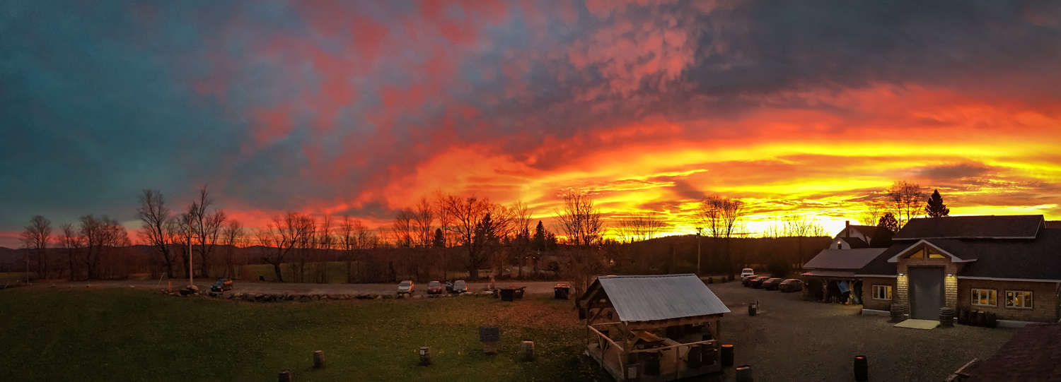 sunset over the taproom